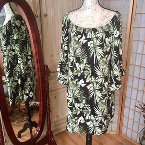 Nordstrom Bobeau Leaf Foliage Dress Tunic Sz Med
